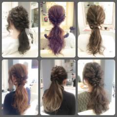 波ウェーブ 簡単ヘアアレンジ ショート ローポニーテール ヘアスタイルや髪型の写真・画像