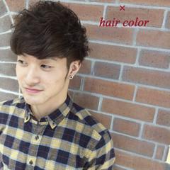 パーマ メンズ ブラウン ショート ヘアスタイルや髪型の写真・画像