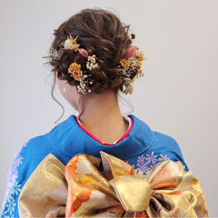 ロング 成人式 ドライフラワー ヘアアレンジ ヘアスタイルや髪型の写真・画像