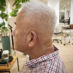 メンズ ナチュラル ショート シルバーグレイ ヘアスタイルや髪型の写真・画像