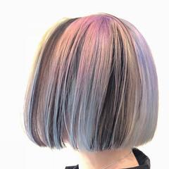 ピンク ボブ グラデーションカラー ストリート ヘアスタイルや髪型の写真・画像