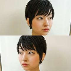 ショートバング ショート 暗髪 かわいい ヘアスタイルや髪型の写真・画像