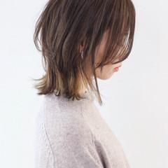 バレイヤージュ ウルフカット ボブ ストリート ヘアスタイルや髪型の写真・画像