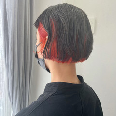 オレンジ ボブ ヘアカラー 外国人風カラー ヘアスタイルや髪型の写真・画像