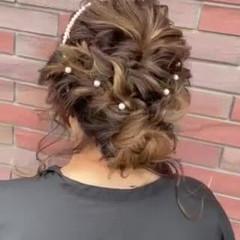 エレガント お呼ばれヘア ゆるふわセット セミロング ヘアスタイルや髪型の写真・画像