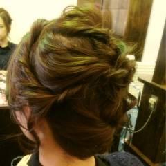 編み込み アップスタイル 簡単ヘアアレンジ ショート ヘアスタイルや髪型の写真・画像