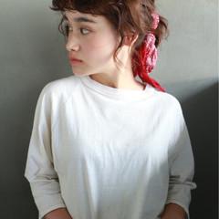 ポニーテール 前髪パーマ ボブ 無造作 ヘアスタイルや髪型の写真・画像