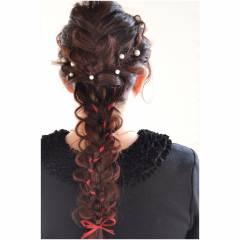 三つ編み ストリート 大人かわいい ヘアアレンジ ヘアスタイルや髪型の写真・画像