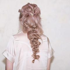 ロング 簡単ヘアアレンジ ヘアアレンジ モーブ ヘアスタイルや髪型の写真・画像