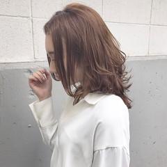 アッシュ ハイライト 色気 セミロング ヘアスタイルや髪型の写真・画像
