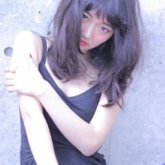 暗髪 フリンジバング ダークアッシュ ストリート ヘアスタイルや髪型の写真・画像