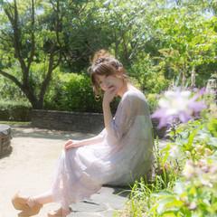 ヘアアレンジ 女子会 ミディアム 春 ヘアスタイルや髪型の写真・画像
