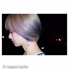 カラーバター パープル ストリート ピンク ヘアスタイルや髪型の写真・画像
