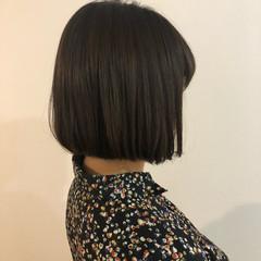 切りっぱなし ショートボブ 暗髪 デート ヘアスタイルや髪型の写真・画像