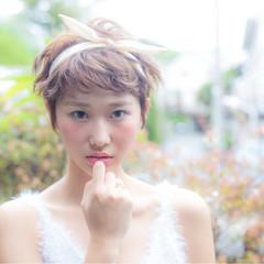 大人女子 ベリーショート ヘアアレンジ アッシュ ヘアスタイルや髪型の写真・画像