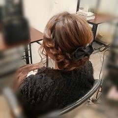 編み込み ヘアアレンジ ミディアム ガーリー ヘアスタイルや髪型の写真・画像
