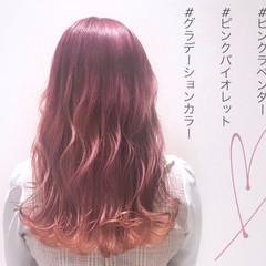 グラデーションカラー 透明感カラー ガーリー ロング ヘアスタイルや髪型の写真・画像