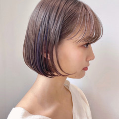 ショートヘア ボブ インナーカラー ナチュラル ヘアスタイルや髪型の写真・画像