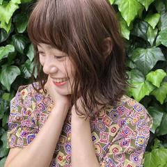 ブラウンベージュ ミディアム 大人女子 かわいい ヘアスタイルや髪型の写真・画像