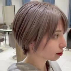 ナチュラル ミルクティーベージュ 大人ショート ショートヘア ヘアスタイルや髪型の写真・画像