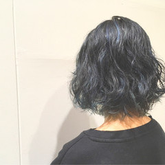 モード 外ハネ ブルー ネイビー ヘアスタイルや髪型の写真・画像