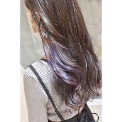 ガーリー パープル パープルアッシュ イヤリングカラー ヘアスタイルや髪型の写真・画像