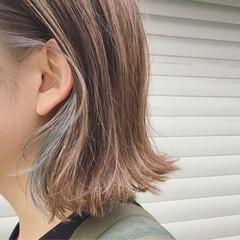 インナーカラー 透明感 ナチュラル 外ハネ ヘアスタイルや髪型の写真・画像