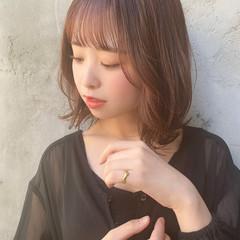 ミディアム 毛先パーマ デート ロブ ヘアスタイルや髪型の写真・画像