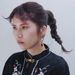 外国人風カラー ヘアアレンジ 三つ編み ロング ヘアスタイルや髪型の写真・画像