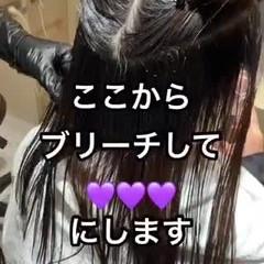 ガーリー セミロング インナーカラー ラベンダーカラー ヘアスタイルや髪型の写真・画像