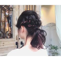 ミディアム ピンク ヘアアレンジ パーマ ヘアスタイルや髪型の写真・画像