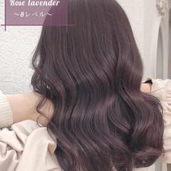 透明感カラー ピンクベージュ セミロング ラベンダーグレージュ ヘアスタイルや髪型の写真・画像