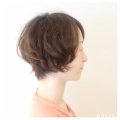 ショート パーマ 涼しげ ヘアアレンジ ヘアスタイルや髪型の写真・画像
