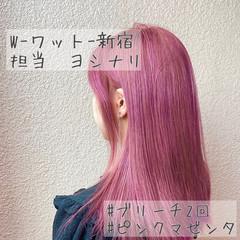 ロング ピンクバイオレット ピンクベージュ 韓国ヘア ヘアスタイルや髪型の写真・画像