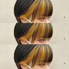 イエロー イエローベージュ 前髪インナーカラー イエローアッシュ ヘアスタイルや髪型の写真・画像