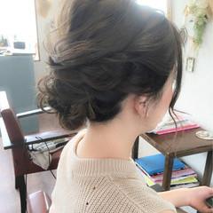 リラックス ヘアアレンジ ミディアム 涼しげ ヘアスタイルや髪型の写真・画像