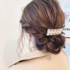 ミディアム 結婚式 女子力 ヘアアレンジ ヘアスタイルや髪型の写真・画像