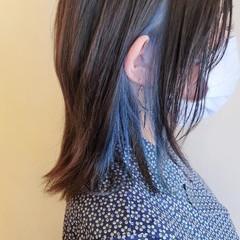 インナーブルー インナーカラー モード ブルー ヘアスタイルや髪型の写真・画像