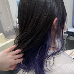 インナーカラー ミディアム ヘアアレンジ ガーリー ヘアスタイルや髪型の写真・画像
