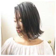 アウトドア 透明感 ボブ 秋 ヘアスタイルや髪型の写真・画像