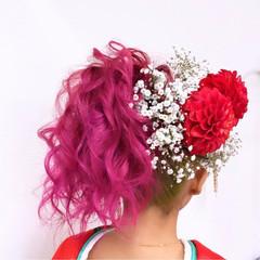 インナーカラー モード ピンク ハイトーン ヘアスタイルや髪型の写真・画像