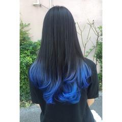 ブルー モード ブルーアッシュ ネイビー ヘアスタイルや髪型の写真・画像