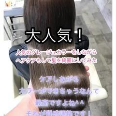 アッシュグレージュ 美髪 髪質改善トリートメント 髪質改善カラー ヘアスタイルや髪型の写真・画像