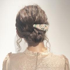 ヘアアレンジ 小顔 ミディアム フェミニン ヘアスタイルや髪型の写真・画像