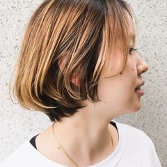 ストリート ボブ ハイライト グラデーションカラー ヘアスタイルや髪型の写真・画像