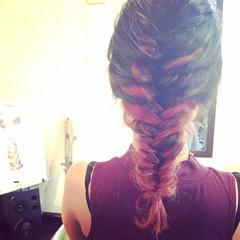 ピンク ハイライト ミディアム インナーカラー ヘアスタイルや髪型の写真・画像