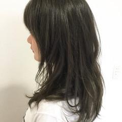 暗髪 アッシュ ナチュラル セミロング ヘアスタイルや髪型の写真・画像
