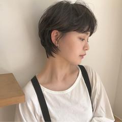 リラックス ショートボブ 小顔 ショート ヘアスタイルや髪型の写真・画像