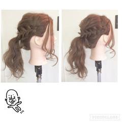 ポニーテール 三つ編み ヘアアレンジ ロング ヘアスタイルや髪型の写真・画像