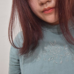 ナチュラル ベリーピンク ピンク ミディアム ヘアスタイルや髪型の写真・画像